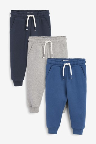 Blue/Grey/Navy 3 Pack Soft Touch Joggers (3mths-7yrs)