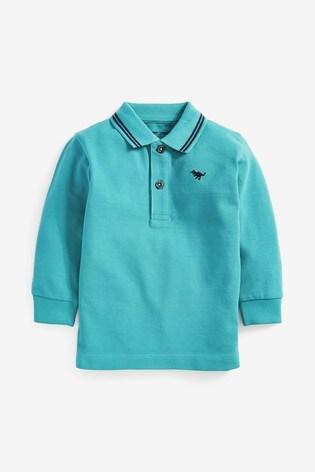 Teal Long Sleeve Plain Poloshirt (3mths-7yrs)