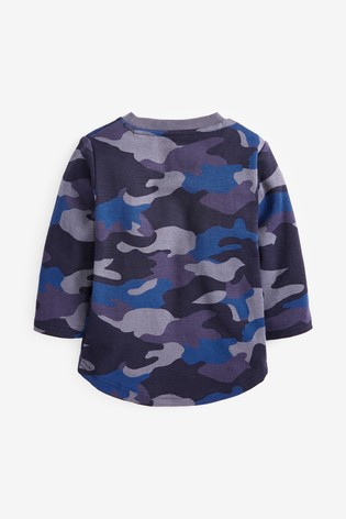 Blue Camo Long Sleeve Textured Camo T-Shirt (3mths-7yrs)