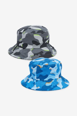 Blue/Grey 2 Pack Camoflage Bucket Hats (3mths-10yrs)