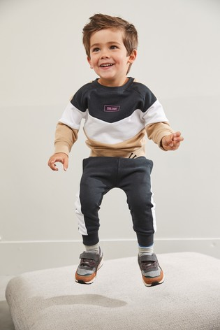 Tan/Black Colourblock Crew And Joggers Set (3mths-7yrs)