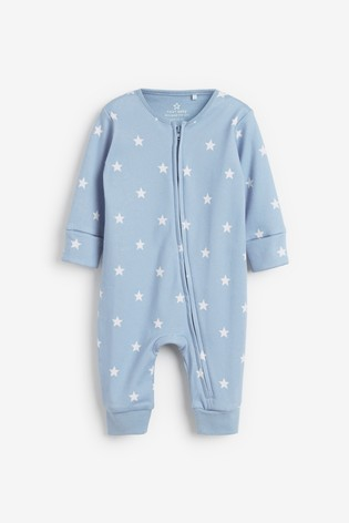 Blue 2 Pack Elephant Zip Sleepsuits (0mths-3yrs)