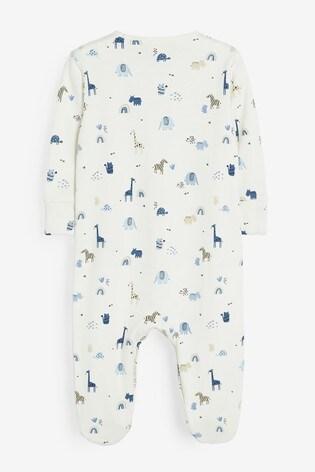 Pale Blue 3 Pack Safari Sleepsuits (0mths-2yrs)