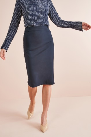 Navy Tailored Fit Pencil Skirt