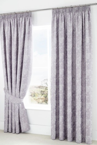 Jasmine Floral Jacquard Pencil Pleat Curtains by Serene