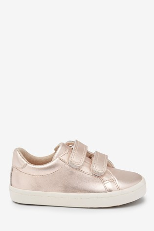 Rose Gold Leather Touch Fastening Trainers (Younger)