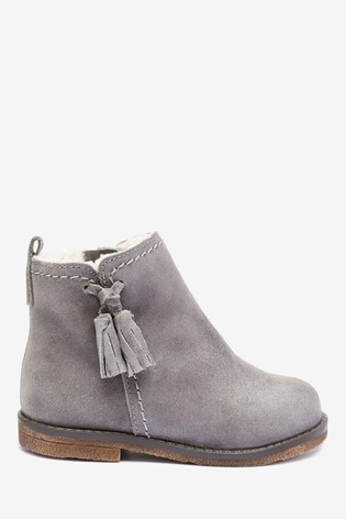 Buy Grey Suede Tassel Boots (Younger