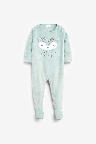 Teal Deer Fleece Sleepsuit (0mths-3yrs)