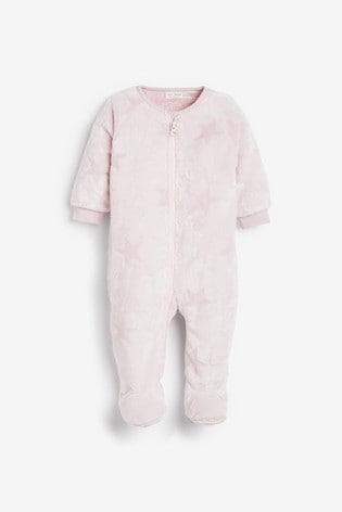 Pink Star Fleece Sleepsuit (0mths-3yrs)