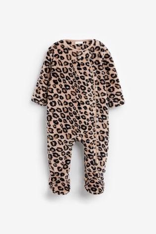 Tan Leopard Fleece Sleepsuit (0mths-3yrs)