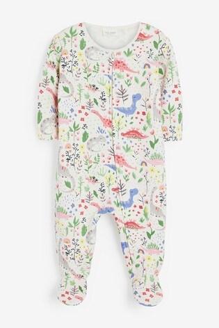 Pink Dinosaur Fleece Lined Sleepsuit (0mths-2yrs)