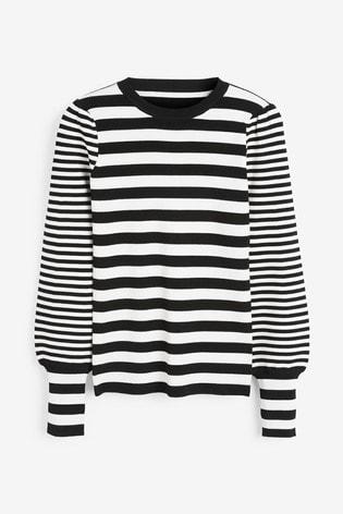 Next/Mix Black/White Stripe Knit