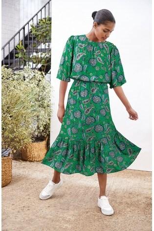 Green Button Detail Midi Dress