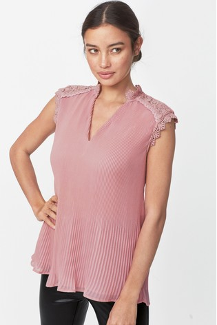 Blush Lace Insert Pleated Top