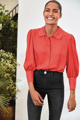 Red Curved Collar Shirt