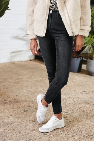 Black Sparkle Button High Waist Authentic Skinny Jeans