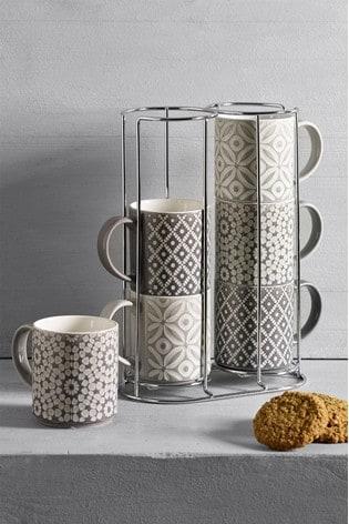 Geo Set of 6 Stacking Mugs Embossed