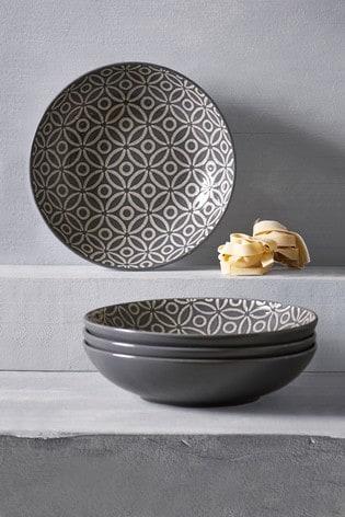 Geo Embossed Set of 4 Pasta Bowls