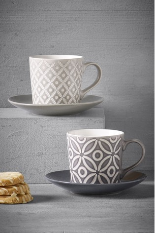 Geo Set of 2 Teacup and Saucers Embossed