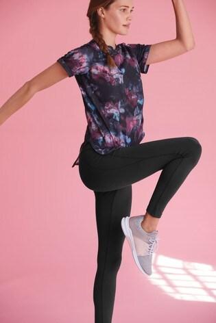 Floral Print Short Sleeve Sports T-Shirt