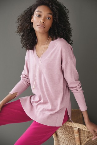 Pink Merino V-Neck Jumper