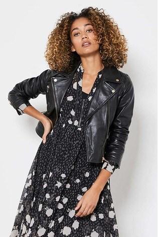 Mint Velvet Smoke Leather Biker Jacket