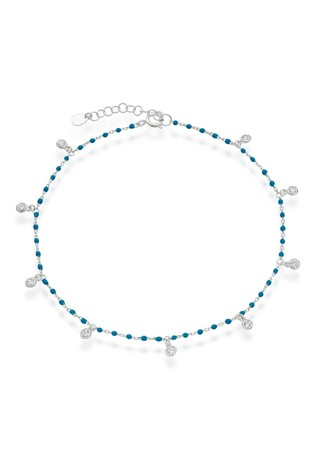 Beaverbrooks Sterling Silver Cubic Zirconia Beaded Anklet