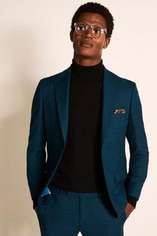 Moss London Teal Slim Fit Suit Jacket