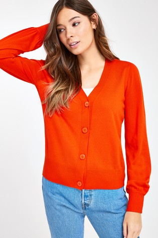 Orange Volume Sleeve Cardigan