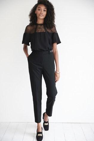 Black Lace Trim Occasion T-Shirt