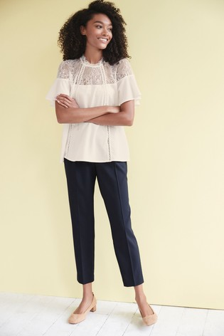 Navy Elastic Back Tapered Trousers