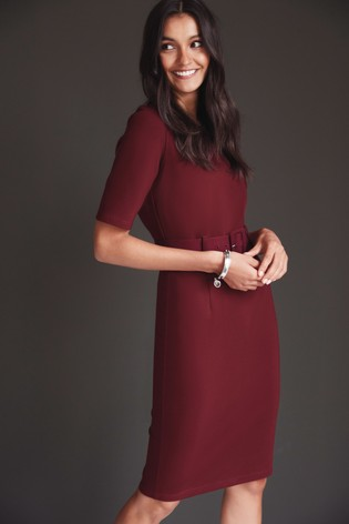 Berry Ponte Bodycon Dress