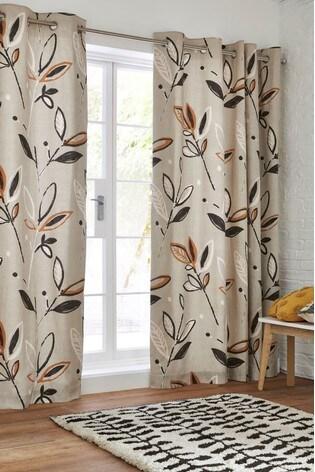 Gombo Leaf Print Eyelet Curtains