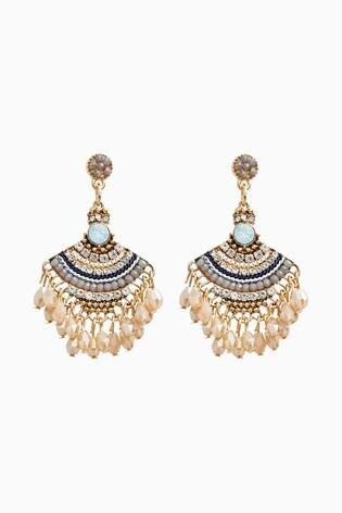 Gold Tone Beaded Drop Sparkle Fan Earrings