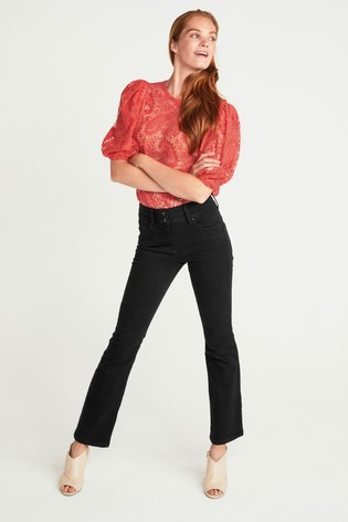 Coral Lace Puff Sleeve Top