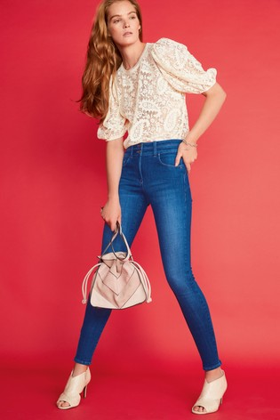 Cream Lace Puff Sleeve Top
