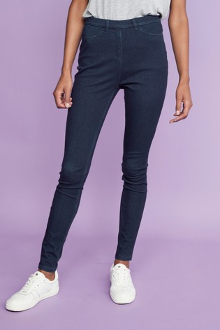 Dark Rinse Jersey Denim Leggings