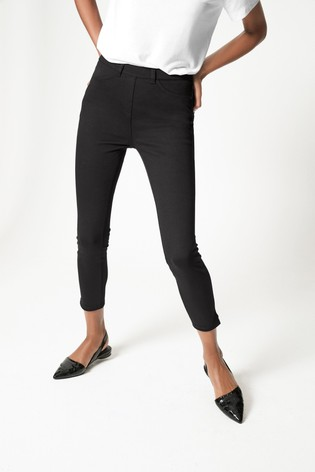 Black Jersey Cropped Leggings