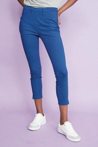 Cobalt Jersey Cropped Leggings