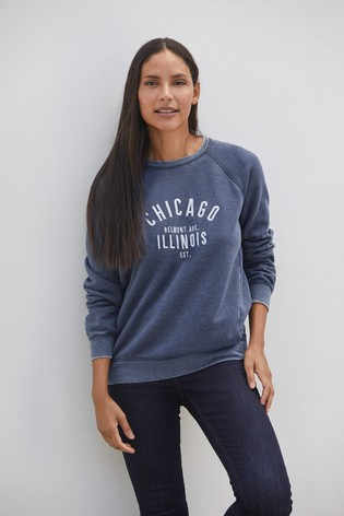 Navy Chicago Graphic Sweatshirt