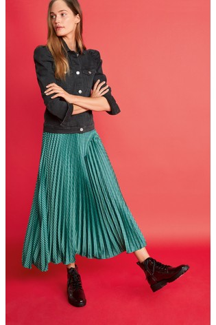Green Check Pleated Skirt