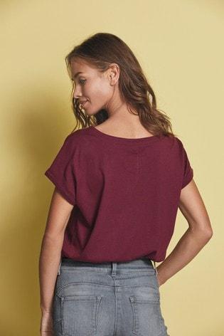 Embellished Star Berry Curved Hem T-Shirt