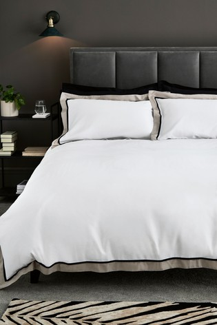 300 Thread Count 100% Cotton Sateen Border Duvet Cover And Pillowcase Set