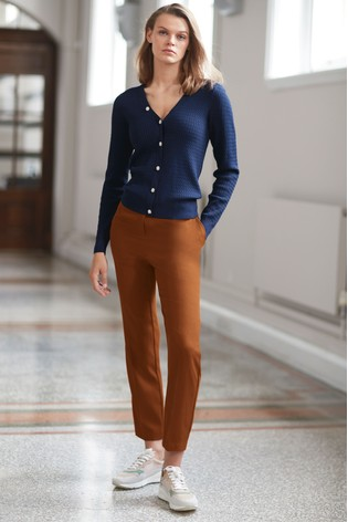 Rust Elastic Back Slim Trousers