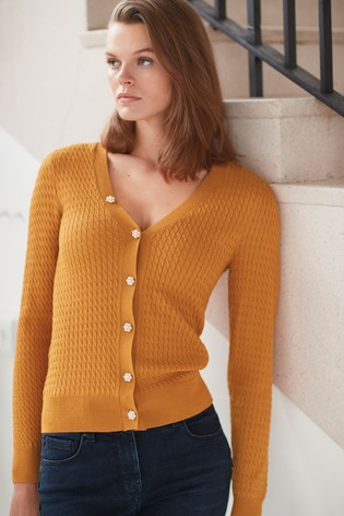 Ochre Mini Cable Cardigan