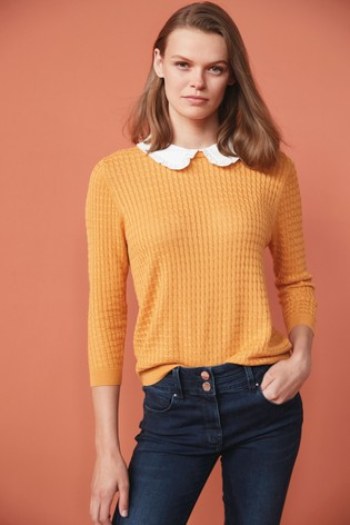 Ochre Stitch Detail Collar Layer Knit Top