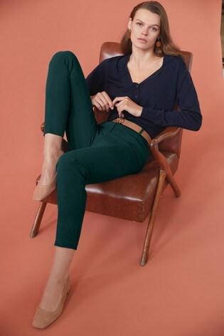 Forest Green Elastic Back Slim Trousers