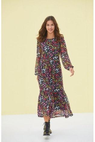 Multi Ditsy Mesh Midi Long Sleeve Dress
