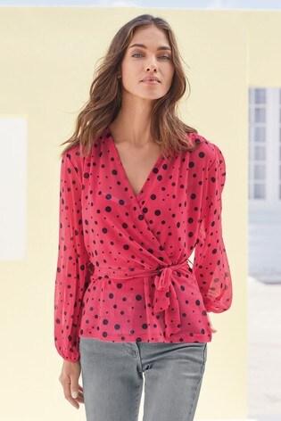 Pink Spot Mesh Long Sleeve Wrap Top
