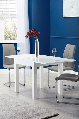 White Gloss 4-6 Seater Square To Rectangle Dining Table